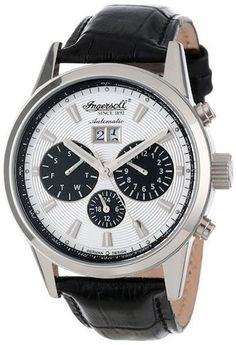 Ingersoll IN1214SL Gatsby Men's Watch Automatic Silver Dial Black Leather Strap