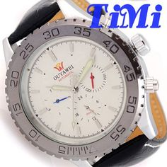 >> Click to Buy << 3-Working Dial Mens Date/Week Automatic Watch White Face Light Hands Strap #Affiliate