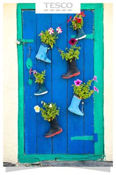 A brightly painted wooden door is decorated with three pairs of gumboots that match harmoniously with the door's colors. These gumboots are used as door mounted planters with colorful flowers that provide a rich playful contrast to the door's ocean hues. Flower Planters, Garden Planters, Flower Pots, Recycled Planters, Recycled Garden, Eco Garden, Balcony Garden, Garden Web, Garden Design