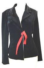 JS Collections Black Stretch Velvet Red Grosgrain Tie Blazer Jacket 8