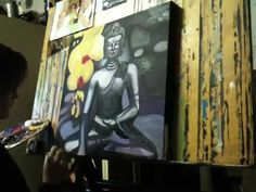 Request for a birthday present: a painting of a buddha. Here a short tutorial (musical support by Green Day ) estimated amount of time used: 3 hours Doodle Art, Drawing Sketches, Buddha, Doodles, Paintings, Watch, Creative, Youtube, Painting Art