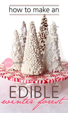 Learn how to make an edible winter forest out of sugar cones. Candy forest tutorial at I Gotta Create! Christmas Goodies, Christmas Desserts, Holiday Treats, Christmas Treats, Christmas Baking, Christmas Fun, Holiday Candy, Christmas Activities, Christmas Projects