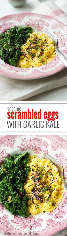 Sesame Scrambled Eggs with Garlic Kale! Perfect for breakfast or brunch! Get the recipe at nutritionistmeetschef.com