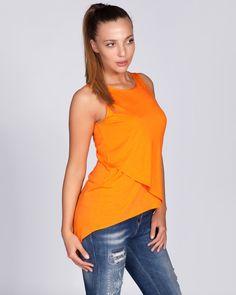 Дамски топ в оранжево - Slava  #online #онлайн #пазаруване #дрехи #топ #трико #оранжево