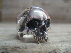 custom silver vampire skull ring