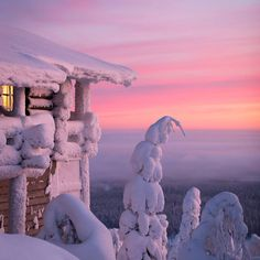 The snow covered trees are amazing at Hotel Iso-Syote - Visiting Finland in Winter: Top 15 Winter Activities in Finland Winter Szenen, Winter Magic, Winter Travel, Winter Sunset, Snow Travel, Snow Covered Trees, Ski Holidays, Winter Beauty, Winter Landscape