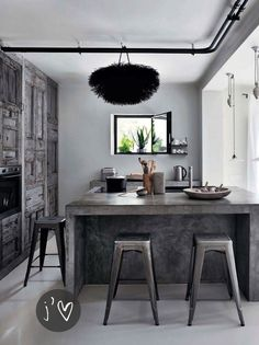 contemporary kitchen with exposed pipes, weathered gray wood and concrete - cool - gray fun and oh, so fabulous
