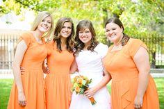 Bridesmaid dresses- soft orange creamsicle. Orange and green wedding
