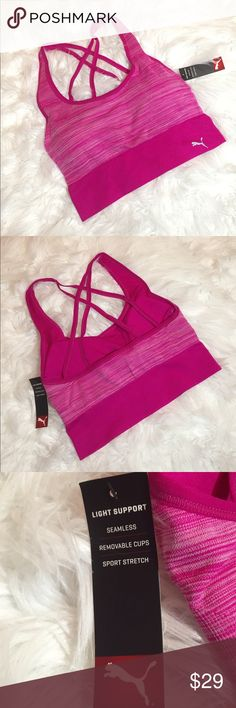 Puma Sports Bra - Pink •Seamless •Removable Cups •Sport Stretch Puma Intimates & Sleepwear Bras