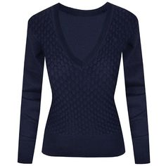 Hot From Hollywood Navy Deep V-Neck Pullover Sweater ($23) ❤ liked on Polyvore featuring tops, sweaters, blue pullover, blue sweater, pullover sweater, navy blue tops and sweater pullover