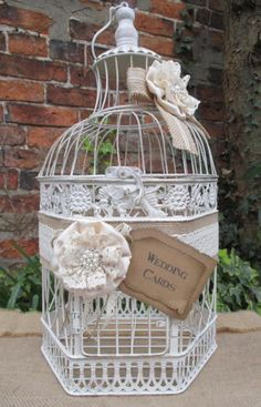 Birdcage Wedding Card Post Box Card Holder with Flowers