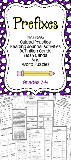 Prefixes - This is a collection of activities all about prefixes. This resource includes a variety of lessons for you to use with your students. #prefixes