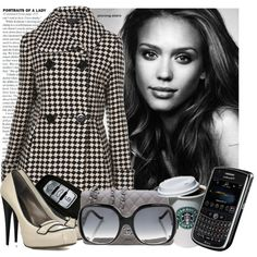 Women's winter office fashion inspired by Jessica Alba.