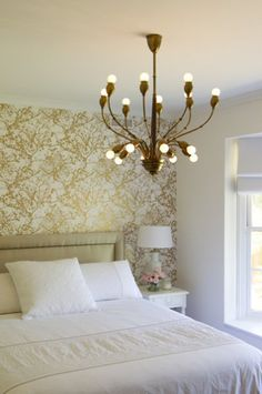 gold wall paper accent wall