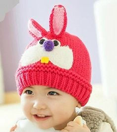 Dealzip Inc Lovely Rabbit Pattern Baby Hat Crochet Caps Winter - Hot Pink  Crochet Cap 9b3e4960e693