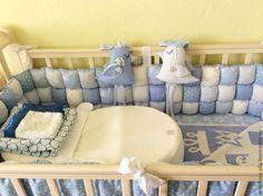 """Бортики в детскую кроватку """"Blue ocean"""" - голубой,горошек,звезды,полоска"""