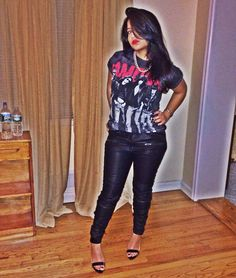 Graphic tee + leather pants