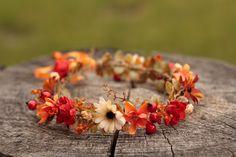 Newborn autumn flower head wreath,floral head wreath,flower crown by EvaFlowersDesigns on Etsy Flower Head Wreaths, How To Preserve Flowers, Fall Flowers, Flower Crown, Photo Props, Autumn, Preserved Flowers, Etsy, Jewelry