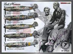 Pilot Ace Erich Hartmann . 5 of the machines he made war on . 1943-44 .