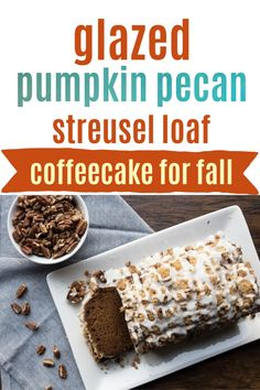 This loaf is the perfect coffeecake for fall. It is full of classic pumpkin spice flavor, with pecans sprinkled throughout. It has a delicious streusel topping along with a delicious smooth glaze. This is the perfect addition to a fall themed breakfast or brunch! Pumpkin Puree, Pumpkin Spice, Streusel Topping, Pecans, No Bake Desserts, Rice Krispies, Glaze, Sweet Treats, Brunch