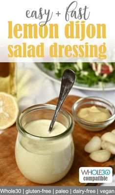 Creamy lemon dijon salad dressing is a delicious and versatile addition to your healthy salad! Made in just five minutes this healthy salad dressing is vegan paleo dairy-free gluten-free and keto compatible. Gluten Free Salad Dressing, Creamy Salad Dressing, Salad Dressing Healthy, Dairy Free Dressing Recipes, Salmon Salad Dressing, Cesar Dressing, Oil Free Salad Dressing, Paleo Dressing, Gourmet