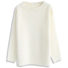 Chicwish Cozy Glee Sweater in White ($56) ❤ liked on Polyvore featuring tops, sweaters, white, drop shoulder sweater, white sweater, cut loose tops, loose white top and loose sweater