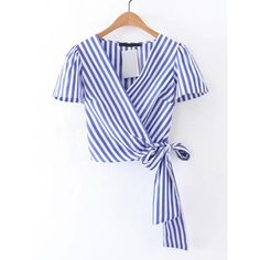 SheIn(sheinside) Surplice Front Knot Detail Top ($18) ❤ liked on Polyvore featuring tops, shirts, crop top, blue, summer crop tops, cropped tops, blue shirt, v neck crop top and striped crop top