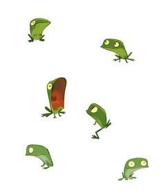 funny frogs. like the guy with his mouth open.