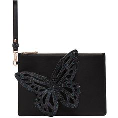 Sophia Webster Black Glitter Flossy Butterfly Pouch ($415) ❤ liked on Polyvore featuring bags, handbags, clutches, black, genuine leather purse, genuine leather handbags, leather zipper pouch, real leather purses and glitter purse