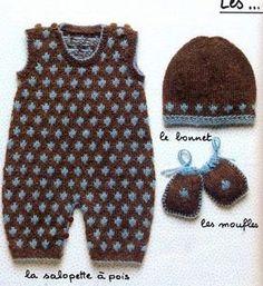 C'est dimanche, alors je vous gâte avec un deuxième article pour partager un modèle gratuit : une salopette, un bonnet et moufles assortis Bon tricot !