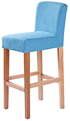 BAR STOOL Barstools Solid Wood High Cotton Linen Appearance Breakfast Coffee Restaurant Stool Nordic House Island Counter (Color : Blue, Size : 40 * 41 * 75cm) Bar Stool Chairs, Bar Stools, Coffee Restaurants, Slipcovers For Chairs, Cotton Linen, Color Blue, Solid Wood, Counter, Island