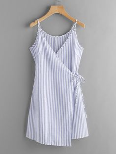 Blue Vertical Stripe Wrap Self Tie Cami Dress