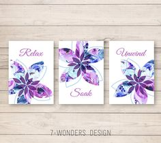 Bathroom Art Prints Relax Soak Unwind Abstract Watercolor Floral Set of or Lilac and Blue, Modern Home Decor, Unframed Bathroom Canvas, Bathroom Wall Art, Abstract Watercolor, Watercolor Flowers, Amazing Bathrooms, Wall Art Prints, Original Artwork, Relax, Diy Projects