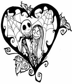 Nightmare Before Christmas Jack And Sally Drawings Sketch Coloring Page Colouring Pages, Printable Coloring Pages, Adult Coloring Pages, Coloring Books, Jack Skellington, Vodoo Tattoo, Jack Und Sally, Jack And Sally Quotes, Art Tim Burton