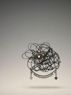 緣 (connection) brooch w/iron, brass, pearl, acrylic - 2012 by Yuri Jin