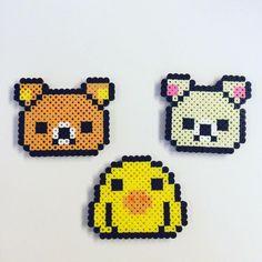 Rilakkuma Perlers #rilakkuma #japan #bear #duck #perler#8bitart #perlers #beads #beadsprite #sprite #Hama #hamabeads #fusebeads #8bit #korilakkuma #koiiroitori