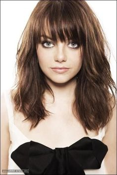 mid-length with blunt fringe bangs ... like this b/c it's not too cutesie