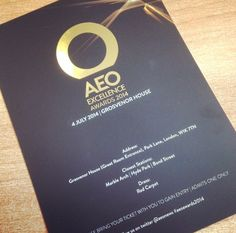 AEO Awards 2014, London - Invitation: love the black and gold style an the red carpet dress code!!