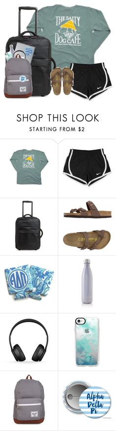 """day 1: flying"" by catsaysmeow ❤ liked on Polyvore featuring NIKE, Vera Bradley, Birkenstock, Huggies, S'well, Beats by Dr. Dre, Casetify, Herschel Supply Co. and macks2k17summacontest"