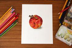 red apple realistic detailed fruit original van Blackbirdt op Etsy