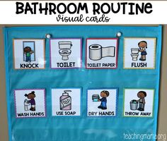 Bathroom Routine Visual Cards Teach children how to use the bathroom with these bathroom visual routine cards. These visual cards will show the steps for properly using the restroom. Visual Schedule Autism, Visual Schedule Preschool, Kids Schedule, Preschool Special Education, Visual Schedules, Toddler Classroom, Preschool Classroom, In Kindergarten, Montessori Toddler