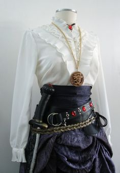 Complete Women's Pirate Costume in Purple / Black, Upcycled - 13 Pieces Including a Jacket  Sword.