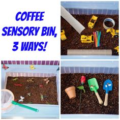 3 Different ways to use coffee beans in a sensory bin! Construction, gardening, and bug catching- so fun!