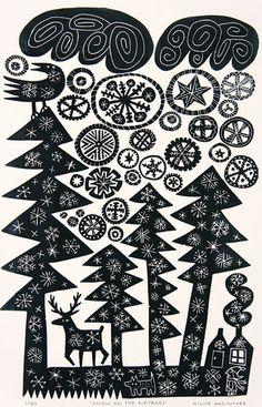 Snow on Firtrees by Hilke MacIntyre