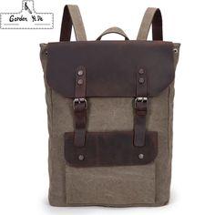 Vintage Leather military Canvas backpack Men's backpack women school backpack school bag 2016 bagpack rucksack mochila PT0265