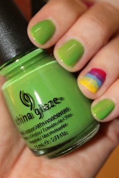 green nails + one rainbow = nails for St. Patrick's Day!