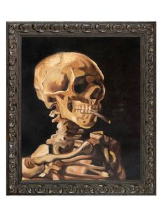 Skull of a Skeleton with Burning Cigarette by Vincent Van Gogh (Canvas)