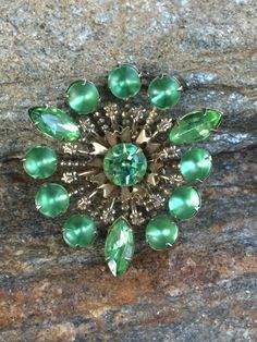 Green Rhinestone Brooch Green Statement Brooch Green Wedding Bouquet Brooch Green Rhinesetone Pin Gift For Her by PassingTides on Etsy