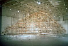 """Tom Orr, """"Floating Mountain,"""" wood and steel, 16 ft X 40 ft X 20 ft"""