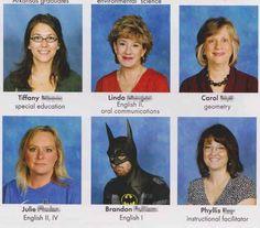 awkward funny yearbook photo batman there-s-funny-shit-in-here Funny Yearbook Quotes, Yearbook Photos, Senior Quotes, Funny Memes, Humor Quotes, Stupid Memes, Funny Stuff, Jokes, Serif